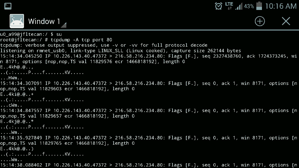 Android TCPDump Image